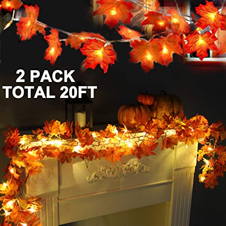 Amazon.com: 2 Pack Thanksgiving Lights Fall Maple Leaves String .