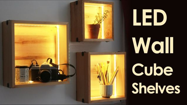 Fancy Up Some Cube Shelves with LED Strips   Wall cubes, Cube wall .