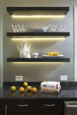 Use LED tape light under your shelves to highlight the items below .