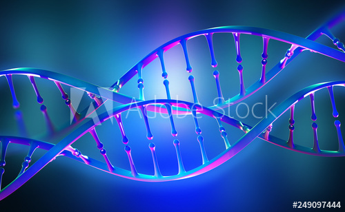 DNA genome research. Bright neon light. DNA molecule structure. 3D .
