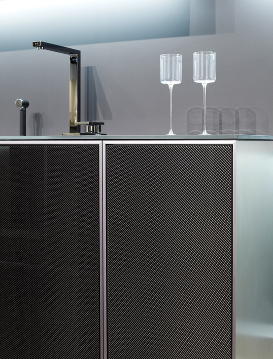 Modern and Mannish Kitchen With Carbon Doors | Bucket Teeth .