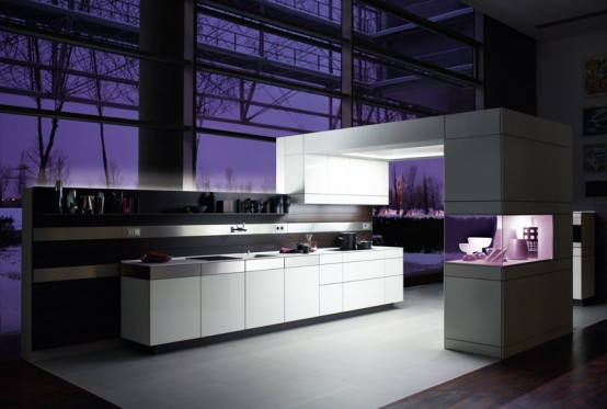 White Kitchen Design with Wooden Back Walls - +Artesio by .