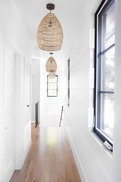 Lined With Lights | White paneling, Hallway lighting, Hanging lamp .