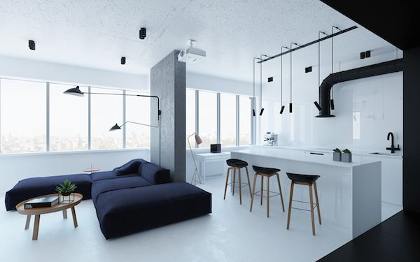 A light and industrial apartment in Kiev, Ukraine | Apartment .