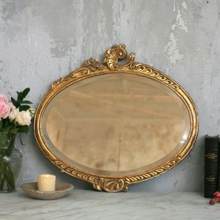 Lovely Wooden Gold Mirror with Rose Crest   Beautiful mirrors .
