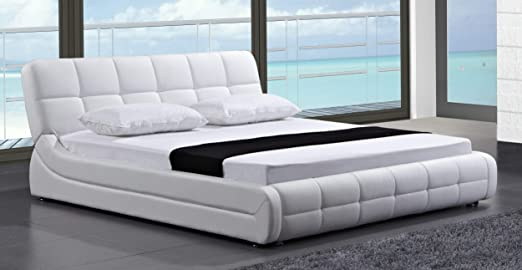 Amazon.com: Greatime B2404 Modern Contemporary Bed, Queen, White .