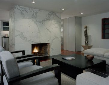 Contemporary living room with marble surround covering entire wall .
