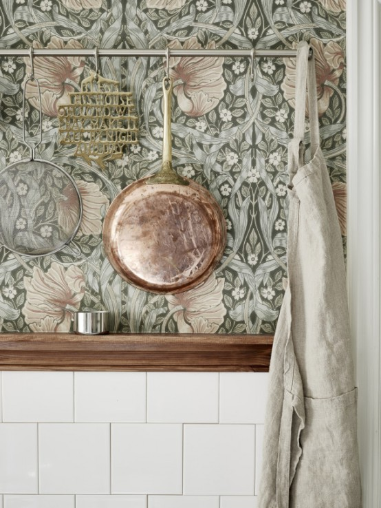 Moody Floral Scandinavian Kitchen Design With Copper Accessories .