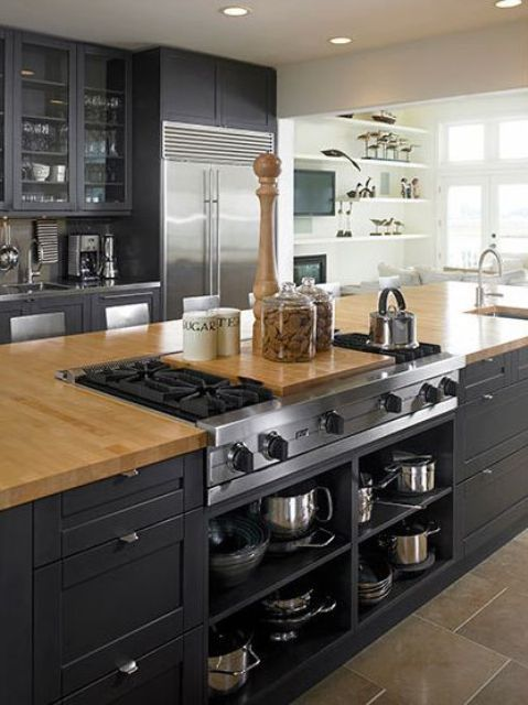 kitchen island with a built in stovetop   Home kitchens, Kitchen .