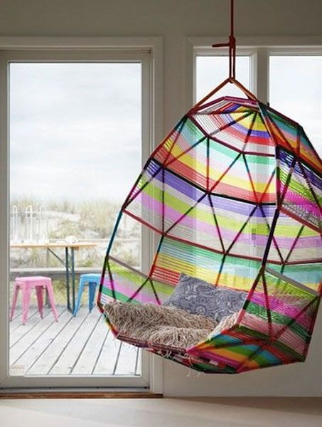 Multi colored hanging chair | Rainbow chairs, Unique chairs design .