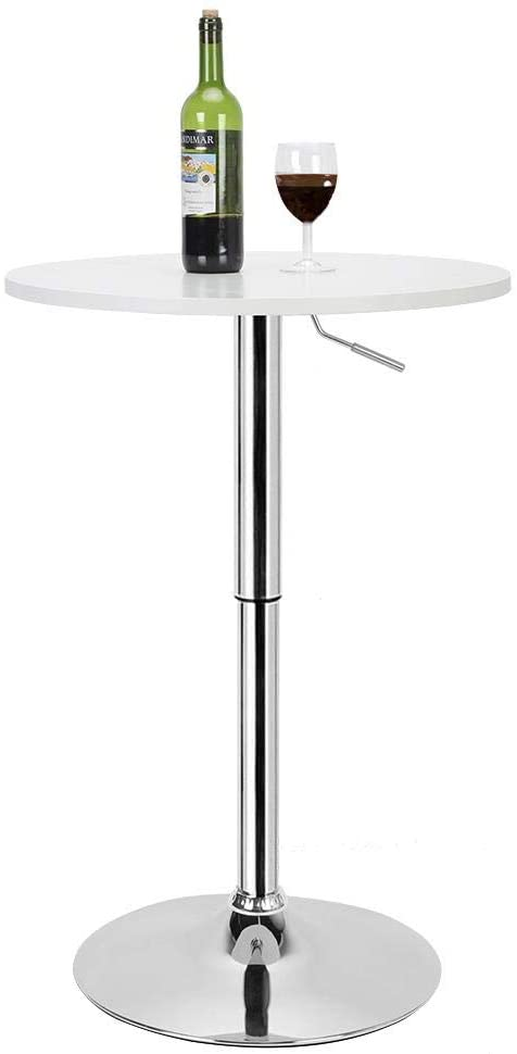 Round Pub Table 35.4-41.3 in MDF Adjustable Multifunctional Round .