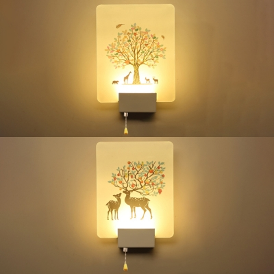 Simple Rectangular Shade LED Bedroom Wall Lamp in Nature-Inspired .