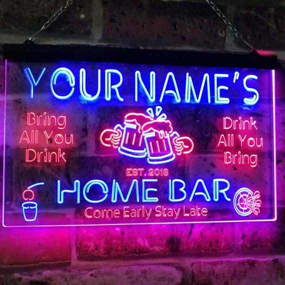 Personalized Your Name Custom Home Bar Neon Signs Beer | Et