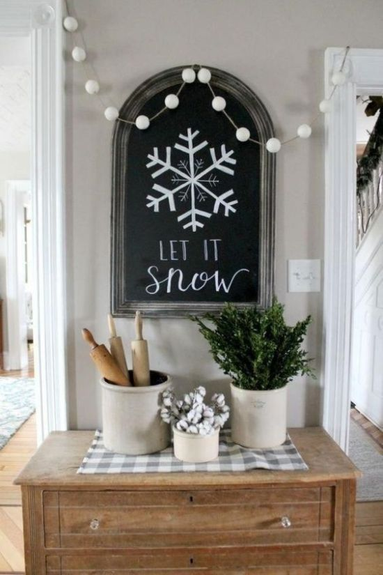 Neutral Winter Home Decor Ideas With A Chalkboard Sign And A White .