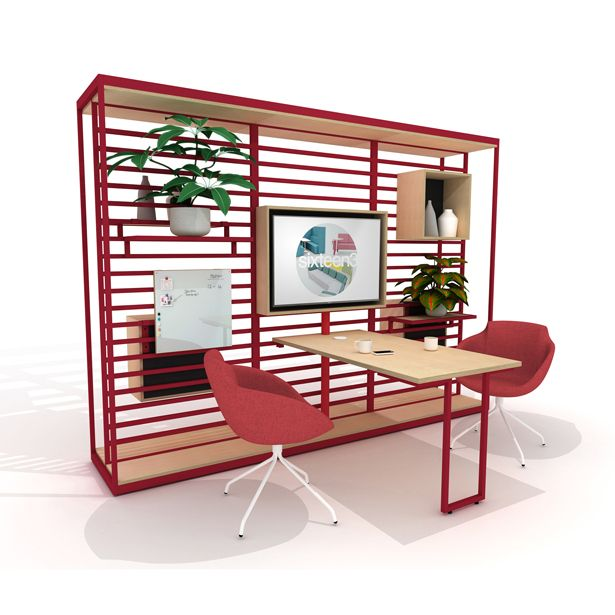Great new space divider, meeting area, multi-media, shelving with .