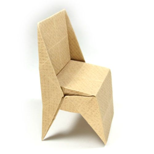 How to make an origami chair with triangular legs (http://www .