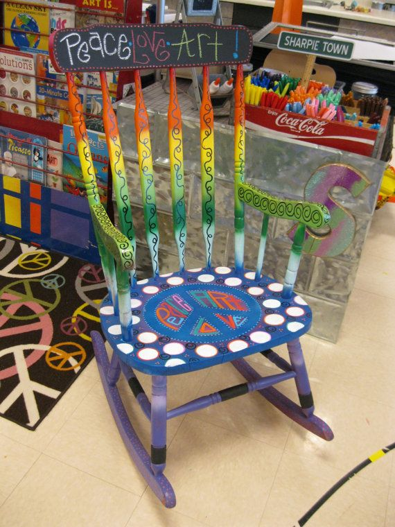 PEACE OUT Handpainted Teacher Reading Rocking Chair by Jez4U .
