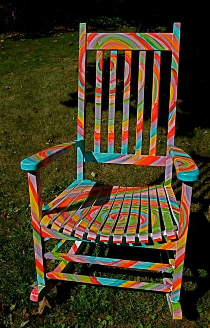 Tie Dye   Funky painted furniture, Painted rocking chairs, Boho .