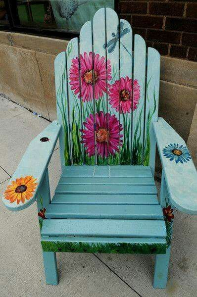 Painted chair   Painted outdoor furniture, Adirondack chairs .