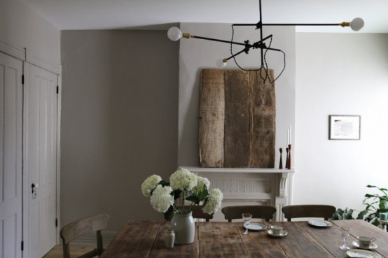 Peaceful Dining Room With Farmhouse Furniture And Industrial .