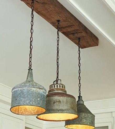 Kitchen: Vintage funnels made into pendant lamps. Calm and quiet .