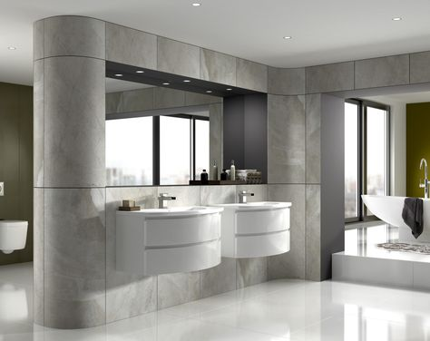 Great layout in this master bathroom. Oversized curved gloss tiles .