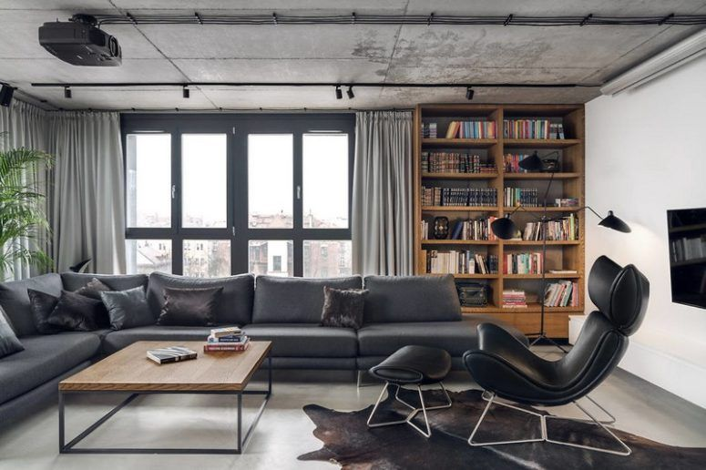 Contemporary Penthouse With Industrial Touches | Open plan living .
