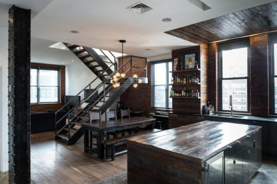 Brutal Industrial Masculine Penthouse In New York - DigsDi