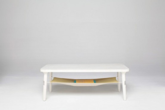 Hammock Table And Dowel Chair Decorated With Bright Fabric - DigsDi