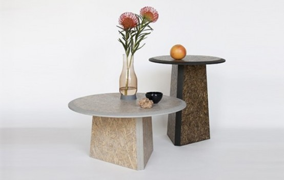 Going Green: Straw Side Tables Of Biodegradable Material - DigsDi