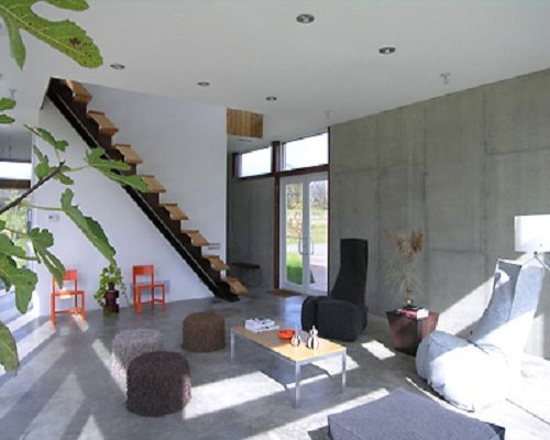 Simple Raw Concrete Wall Interior House Plans with Stairs .