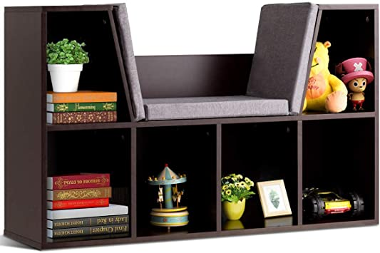 Amazon.com: Costzon 6-Cubby Kids Bookcase w/Cushioned Reading Nook .