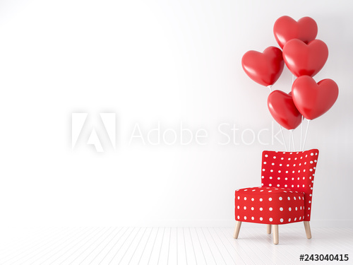 Valentine concept with red fabric and white dot chair 3d render .