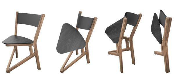 Solid wood LADU chair folds flat for easy storage and shipping .