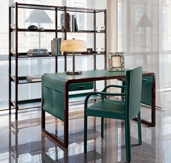 Refined Jolie Desk Made With Green Leather And Elm Wood .