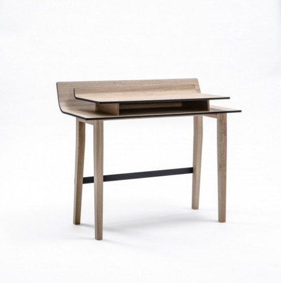 Elegant Listy Desk With Storage Space Between The Tops - DigsDi