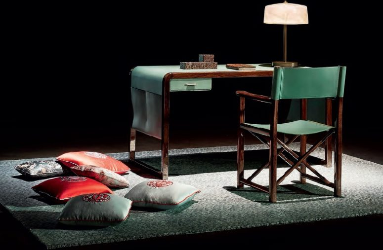 Refined Jolie Desk Made With Green Leather And Elm Wood - DigsDi