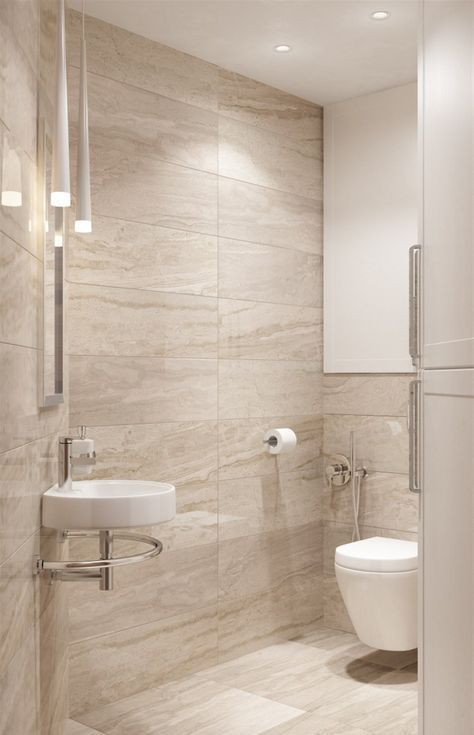 a modern bathroom done in beige and tan and touches of white, with .