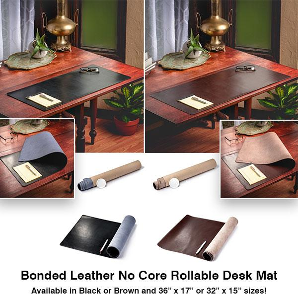 NEW PRODUCT RELEASE: Bonded Leather No Core Rollable Desk Mat .