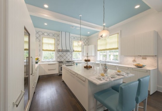 Romantic Kitchen Design With Turquoise Accents - DigsDi