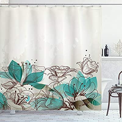 Amazon.com: Ambesonne Turquoise Shower Curtain, Retro Floral .
