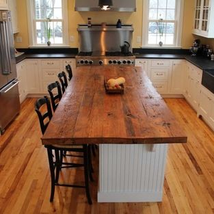 Reclaimed White Pine Kitchen Island Counter - yes please! In love .