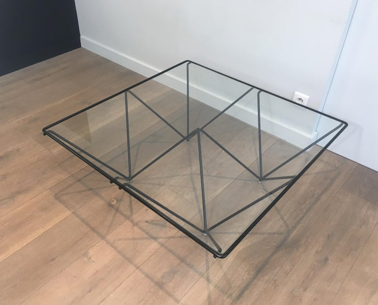 In the Style of Paolo Piva Black Lacquered Pyramidal Coffee Table .