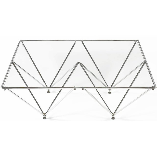 Chromed Steel Pyramidal Base Coffee Table After Paolo Piva | Chairi