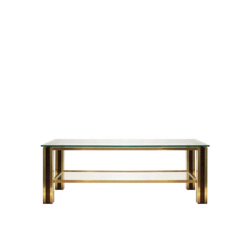 Coffee Table in Brass and Wood, 1970s for sale at Pamo
