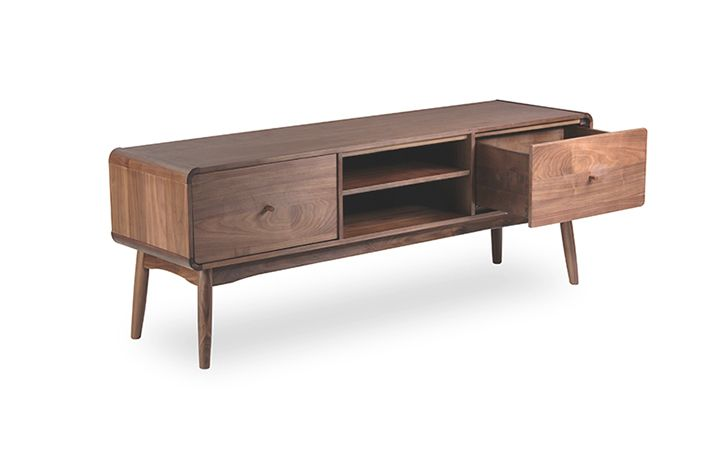 The Bowen TV Sideboard emphasises rounded edges and curves to .
