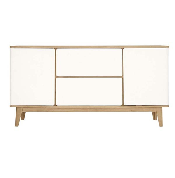 Modern Sideboard with Exposed Wooden Legs and Rounded Corners .