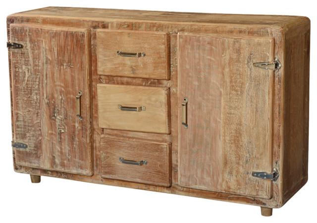 Newdale Rounded Corners Reclaimed Wood 3 Drawer Large Sideboard .