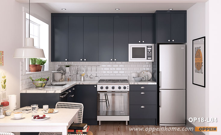 Small L-Shaped Navy Blue Kitchen Cabinet OP18-L04- OPPEIN   The .