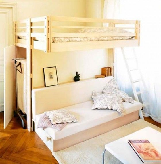 Loft Bed Contemporary Bedroom Design for Small Space by Espace .